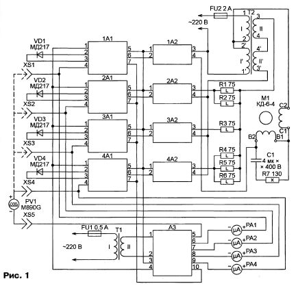 """...1. Он состоит из четырех идентичных каналов (сверху вниз по схеме):  """"Вентилятор """",  """"Сухой термометр """"..."""