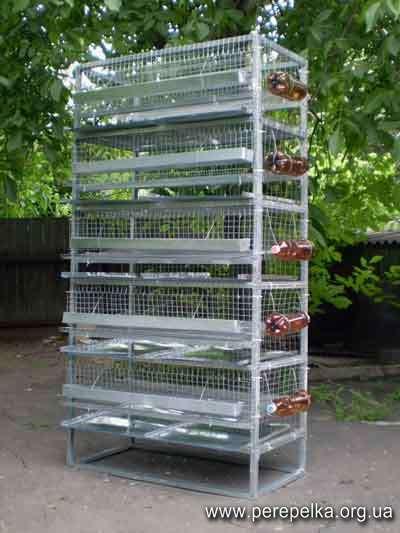 Клеточный стеллаж для перепелов на 200 птиц